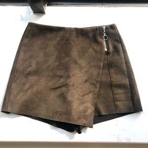 Zara brown suede mini skort